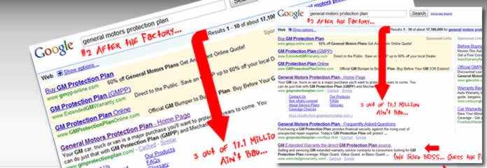Whether organic or paid search results we can produce for your Auto Warranty campaign.